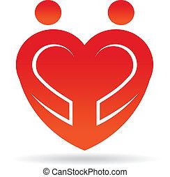 coeur, couple, forme, logo