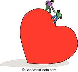 coeur, croquis, sien, griffonnage, lignes, isolé, illustration, main, portion, forme, vecteur, noir, ami, fond, grand, dessiné, blanc, montée, rouges, homme