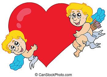 coeur, cupidon, deux, tenue