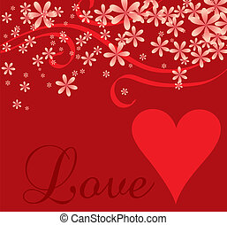 coeur, cursif, amour, fond