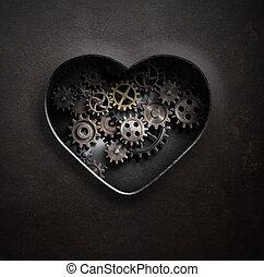 coeur, dents, métal, illustration, engrenages, 3d