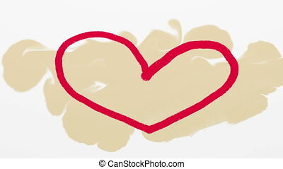 coeur, dessiné, beige, rouges, main