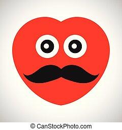 coeur, dessin animé, rouges, émotions