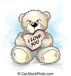 coeur, dessin, ours, teddy