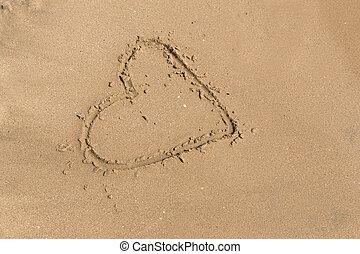 coeur, dessiner, mer sable