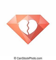 coeur, diamant, isolé, cassé