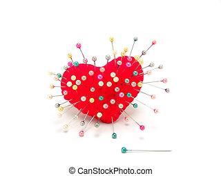 coeur, directement, fond blanc, épingle