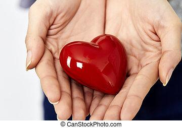 coeur, donner, mains, partage, amour, femme, concept