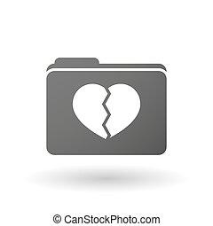 coeur, dossier, icône, isolé, cassé