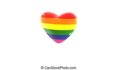 coeur, drapeau, arc-en-ciel, lgbt, coloré, battements