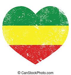 coeur, drapeau, rasta, rastafarian, retro