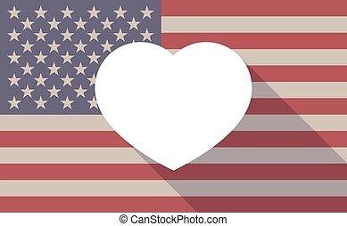 coeur, drapeau, usa, icône