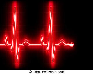 coeur, ekg, graph., eps, beat., 8, rouges