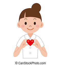 coeur, elle, jeune, main, infirmière