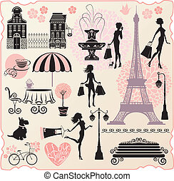 coeur, ensemble, amour, achats, achats, texte, -, maisons, calligraphic, sacs, silhouettes, mode, filles, tour, conception, vente au détail, ou, effel