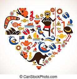 coeur, ensemble, amour, icônes, -, australie, vecteur