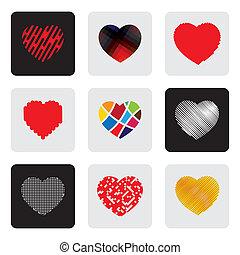 coeur, ensemble, amour, icônes, signe, formes, vecteur, ou