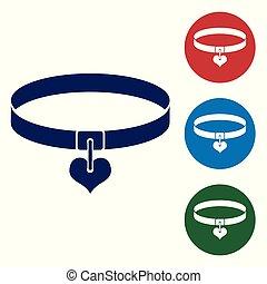 coeur, ensemble, chains., simple, conjugal, étiquette, bleu, chouchou, isolé, arrière-plan., fournitures, blanc, buttons., illustration, animal., collier, couleur, icône, nom, chien, chat, vecteur, cercle, care.
