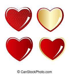 coeur, ensemble, or, illustration, vecteur, rouges