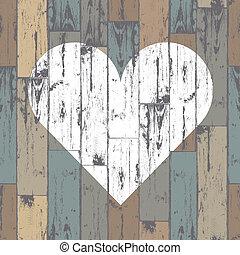 coeur, eps10, bois, arrière-plan., vecteur, blanc