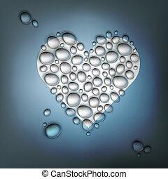 coeur, eps10, formé, résumé, valentines, eau, drops., fond, vecteur, jour