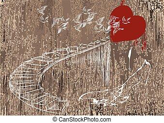 coeur, escalier