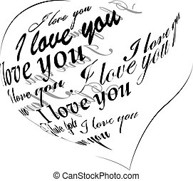 """coeur, fait, amour, """"i, you"""", noir, locution"""
