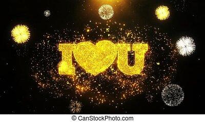 coeur, fait boucle, amour, carte, invitation, voeux, salutations, vous, feud'artifice, célébration