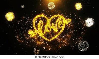 coeur, fait boucle, amour, carte, valentines, invitation, voeux, salutations, feud'artifice, jour, célébration