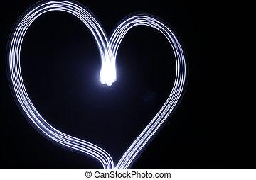 coeur, fait, effet lumière, longue exposition