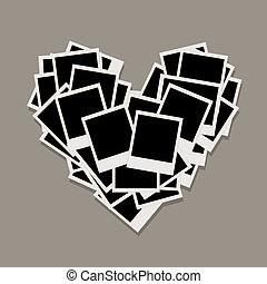 coeur, fait, photos, armatures photo, forme, insertion, ton