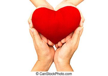 coeur, femme, amour, isolé, concept, santé, tenant mains, rouges, soin