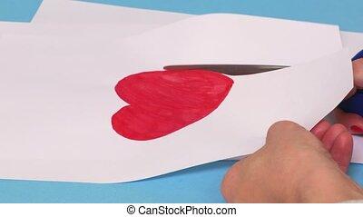 coeur, femme, coupure, forme, papier, blanc rouge, dehors