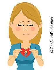 coeur, femme, jeune, malheureux, triste, cassé, carte