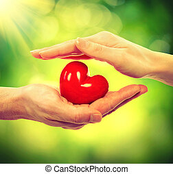 coeur, femme, nature, sur, valentin, fond, mains, homme