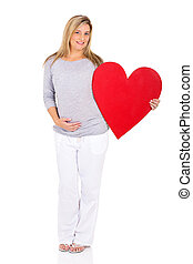 coeur, femme, pregnant, symbole, jeune, tenue
