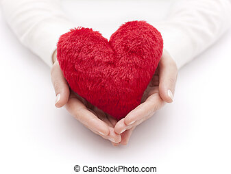 coeur, femme, rouges, mains