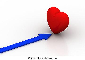 coeur, flèche, rouges