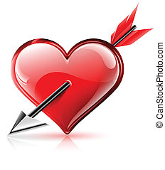 coeur, flèche, vecteur, lustré, illustration