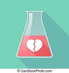 coeur, flacon, tube, long, chimique, cassé, essai, ombre