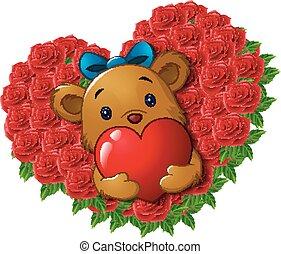 coeur, fleur, ours peluche, roses, forme, mignon, tenue, rouges