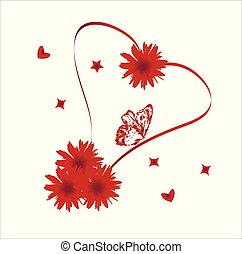 coeur, fleurs, rouges