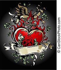 coeur, flores, croix, vendange