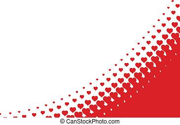 coeur, fond, halftone, vecteur, valentines