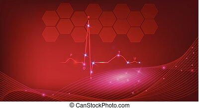 coeur, fond, normal, résumé, cardiogramme, rythme
