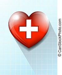 coeur, fond, symbole, monde médical