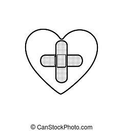coeur, formulaire, croix, aide bande, monochrome, contour