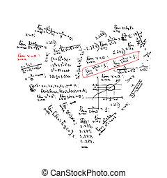 coeur, formules, forme, conception, ton, math