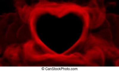 coeur, fumée, valentin, rouges, concept