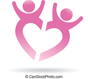 coeur, gens, heureux, former